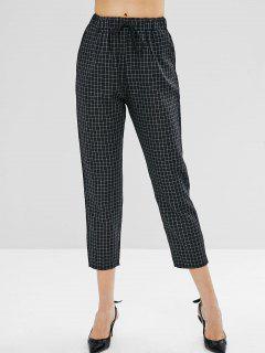Drawstring Waist Plaid Straight Pants - Black S