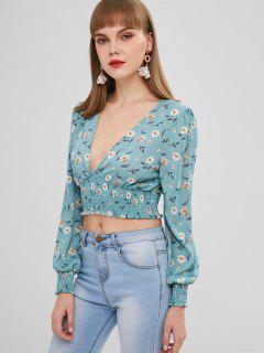 Smocked Floral Print Wrap Blouse - Medium Turquoise S