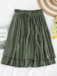 Frilled Drawstring Skirt - Camouflage Green S
