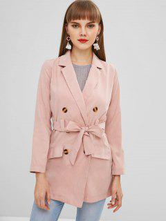 Lapel Double Breasted Trench Coat - Pink M
