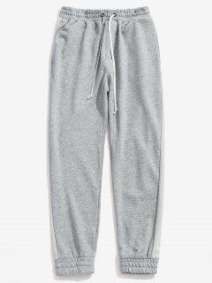 Drawstring Side Color Spliced Jogger Pants - Gray Cloud M