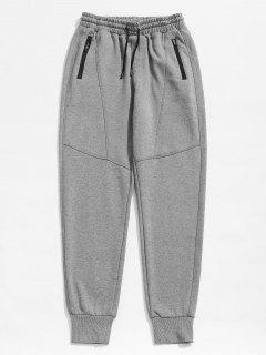 Zipper Pocket Drawstring Casual Jogger Pants - Gray Cloud L