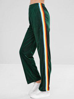 ZAFUL Velvet Ribbed Contrast Casual Pants - Dark Green S