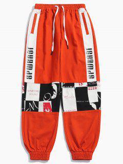 Graphic Patchwork Jogger Pants - Bright Orange M