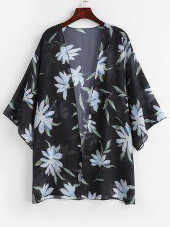 Semi-sheer Floral Kimono - Black