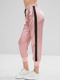 Color Block Drawstring Sports Pants - Light Pink S