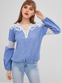 Blouse Plongeant Fleur Au Crochet En Tissu Rayé - Bleu Ciel M