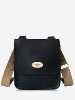 Small Square Shape Cover Design Crossbody Bag - Black