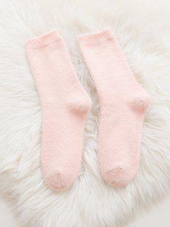 Soft Solid Color Crew Socks - Pink