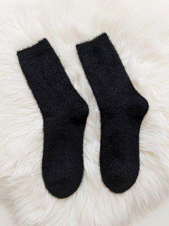 Soft Solid Color Crew Socks - Black