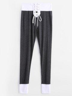 Lace Up Colorblock Leggings - Carbon Gray M
