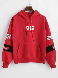 Brief Print Pocket Drawstring Hoodie - Rot M