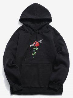 ZAFUL Pullover Rose Embroidery Hoodie - Black M