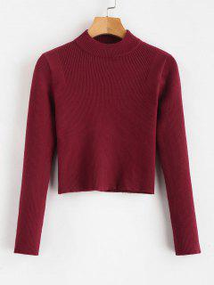 Mock Neck Cropped Pullover Sweater - Red Wine