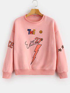 Sterne-Muster Drucken Fleece-Sweatshirt - Orange Rosa Xl