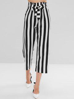 Pantalones Rectos Con Cinturón Y Volantes A Rayas - Multicolor-a M