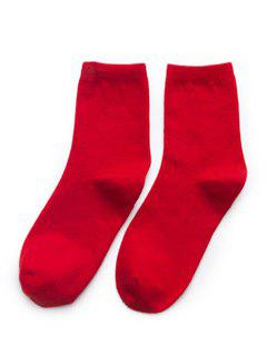 Simple Solid Color Crew Socks - Red