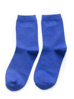 Simple Solid Color Crew Socks - Blue