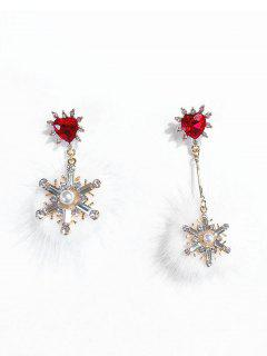 Mink Hair Ball Snowflake Christmas Earrings - Red