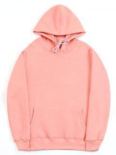 Casual Kangaroo Pocket Fleece Solid Color Hoodie - Pink 2xl