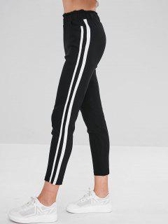 Striped Side Ruffle Pencil Pants - Black M
