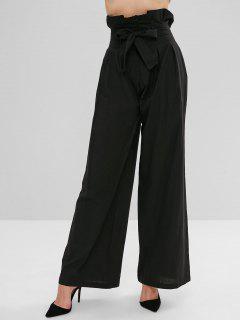 Pantalones De Pierna Ancha Con Cinturón De Volantes - Negro L