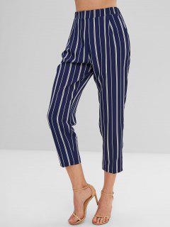 Pantalones Novenos De Cintura Alta A Rayas - Multicolor-a L