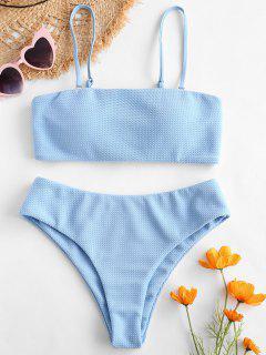 ZAFUL Textured Bandeau Bikini Set - Day Sky Blue S