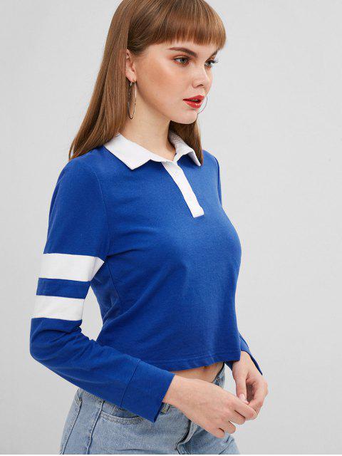 ZAFUL Sweat-shirt Rayé à Demi-Bouton - Bleu Cobalt XL Mobile