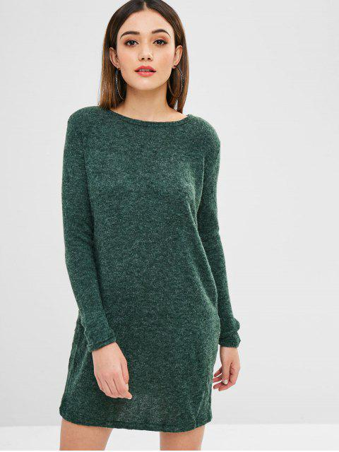 sale Solid Color Mini Sweater Dress - DEEP GREEN S Mobile
