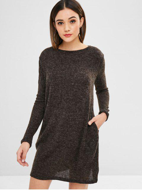 Einfarbig mini pullover dress - Taupe L Mobile