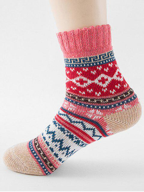 best Ethnic Style Printing Thick Socks - WATERMELON PINK  Mobile