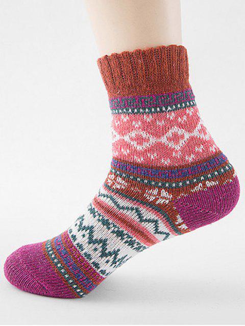 unique Ethnic Style Printing Thick Socks - MAHOGANY  Mobile