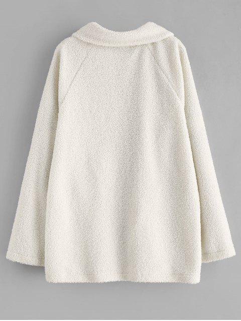 shop ZAFUL Snap Button Piping Faux Fur Coat - WHITE M Mobile