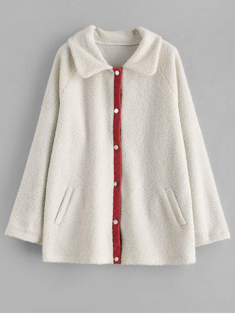 shops ZAFUL Snap Button Piping Faux Fur Coat - WHITE XL Mobile
