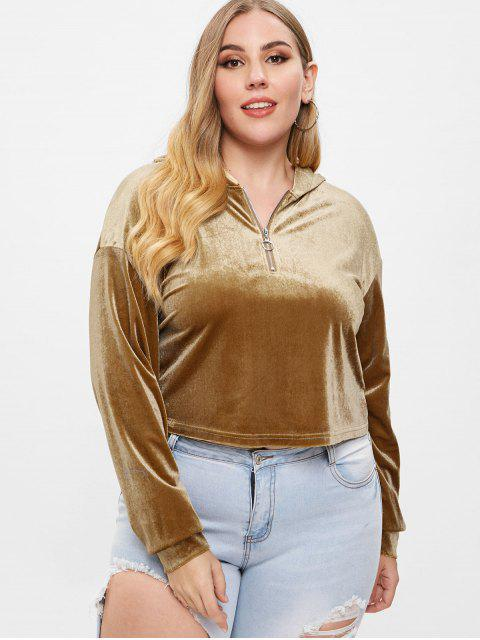 lady ZAFUL Plus Size Half Zip Velvet Hoodie - KHAKI 1X Mobile