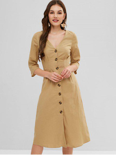 fashion ZAFUL Button Fly Plunge A Line Dress - LIGHT KHAKI XL Mobile