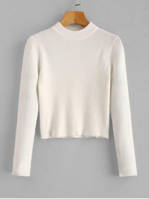 women's Mock Neck Cropped Pullover Sweater - WHITE ONE SIZE Mobile