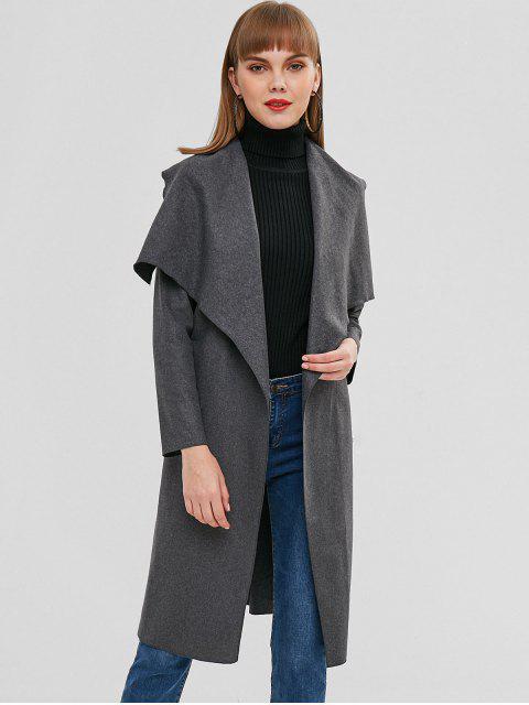fashion Longline Woolen Wrap Coat - CARBON GRAY M Mobile