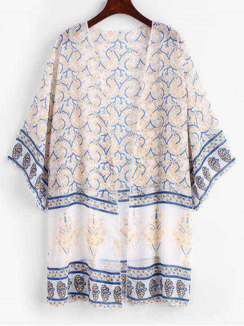hot Plant Print Chiffon Kimono - WHITE ONE SIZE Mobile