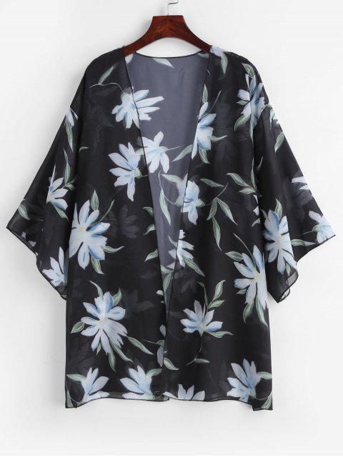 outfit Semi-sheer Floral Kimono - BLACK ONE SIZE Mobile