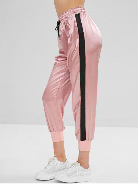 Color bloque cordón pantalones deportivos - Rosa Claro S Mobile