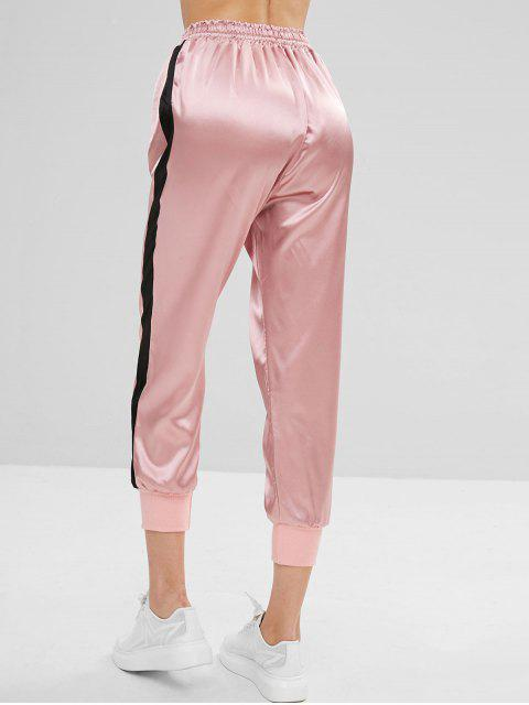 unique Color Block Drawstring Sports Pants - LIGHT PINK L Mobile