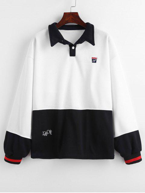 hot Embroidered Color Block Fleece Sweatshirt - WHITE M Mobile