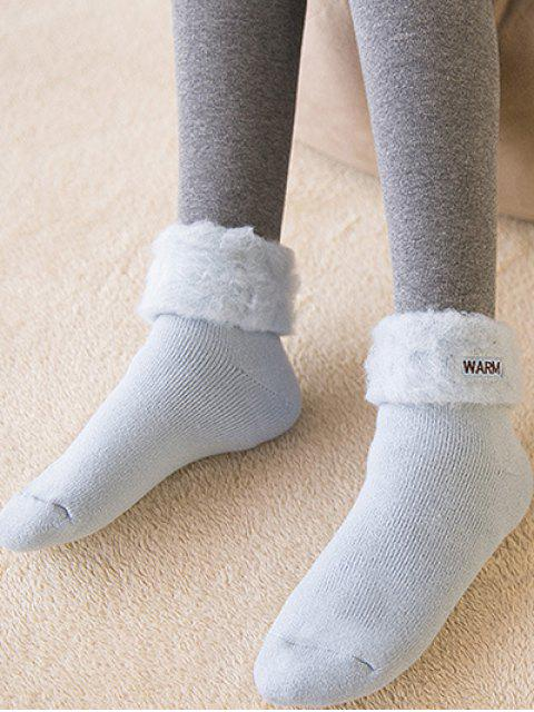 women's Winter Warm Embroidery Flanging Socks - LIGHT BLUE  Mobile