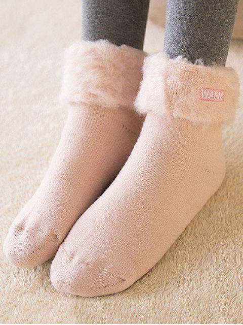 latest Winter Warm Embroidery Flanging Socks - PINK  Mobile