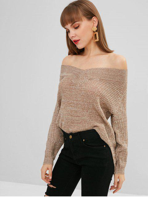 new Off The Shoulder Mixed Yarn Sweater - MULTI M Mobile