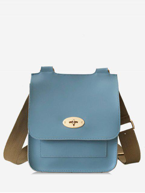 fashion Small Square Shape Cover Design Crossbody Bag - BLUE IVY  Mobile