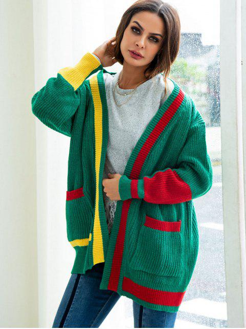 trendy Color Block Open Cardigan - GREEN L Mobile