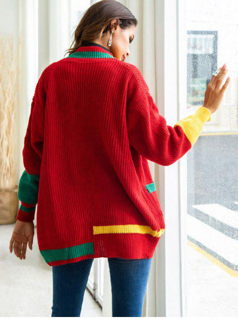 chic Color Block Open Cardigan - RED M Mobile
